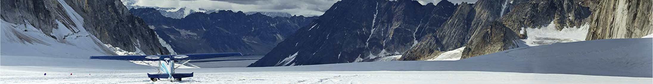 Small plane landed on an Alaskan glacier