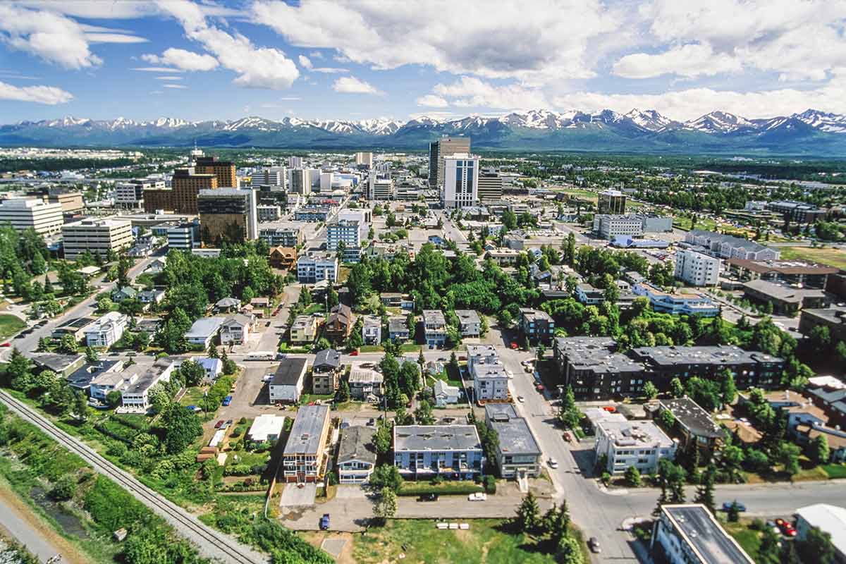 Aerial view of the City of Anchorage