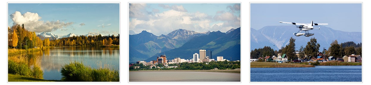 Filmstrip with images of Wasilla Lake near Anchorage+Anchorage Skyline+Small plane flying from Lake Hood